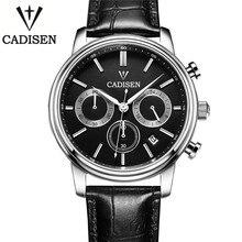 Cadisen Reloj De Lujo de Los Hombres 6 Punteros Auto Fecha Reloj de Cuarzo de Cuero Genuino Reloj Resistente Al Agua 30 Hombres Reloj Hombre blanco Negro