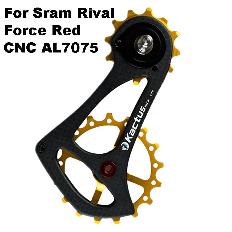 KACTUS TECH 17TSR Carbon Fiber Bicycle Rear Derailleur Bike Ceramic Bearing Pulley Wheel for SRAM RIVAL