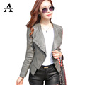 Leather Jacket Women 2016 New Casual Jackets Women Black Leather Jacket Outerwear Coats Zipper Slim Motorcycle PU Jacket KF976