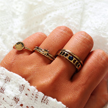 TTLIFE 5pcs/Set Bohemia Antique Gold Round Sun Star Rhinestone Knuckle Finger Midi Rings Set for Women Fashion Ring Jewelry