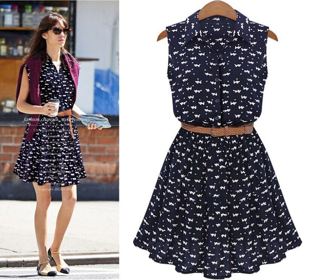 Us 11 1 2015 Spring New Summer Dress Code Women S Dress Shirt Sleeveless Belt Casual Print Send Sashes Vestidos Plus Size Clothing In Dresses From