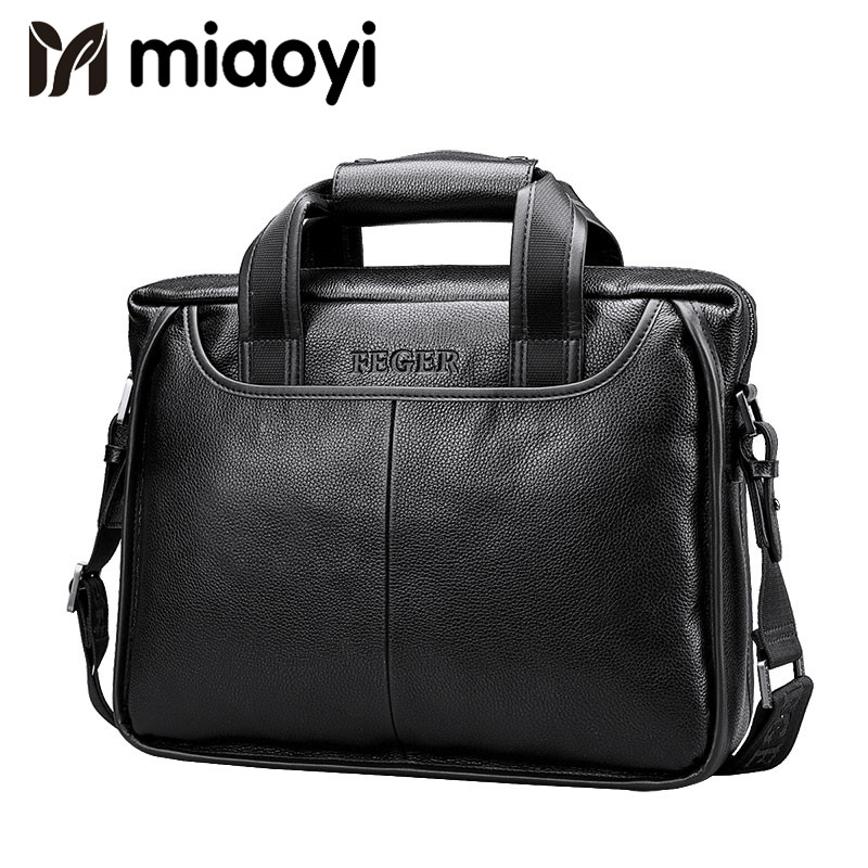 Miaoyi 2018 New Fashion Genuine Leather Men Bag Famous Brand Shoulder Bag Messenger Bags Causal Handbag Laptop Briefcase Male feger 2018 new fashion genuine leather men bag famous brand shoulder bag messenger bags causal handbag laptop briefcase male
