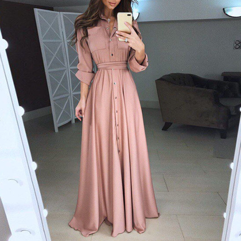 Elegant Women Fashion Long Sleeve Bandage Maxi Shirt Party Dress Ladies Single Breasted Buttons Floor Length Vestidos WS9871E