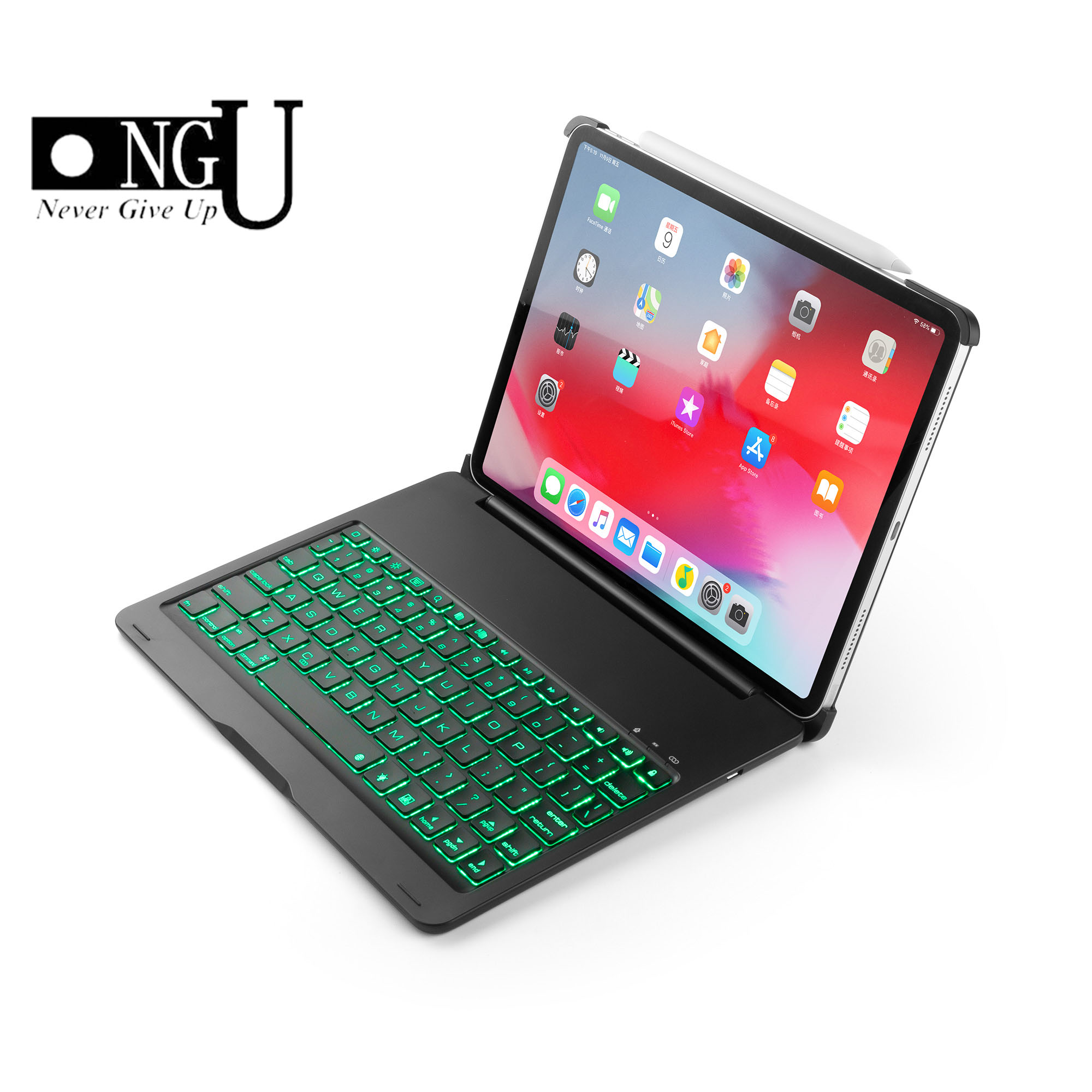 Aluminum ABS 7 Colors Backlit Light Wireless Bluetooth Keyboard Folio Stand Case Cover For Apple iPad Pro 11 A1979 A1983 2018Aluminum ABS 7 Colors Backlit Light Wireless Bluetooth Keyboard Folio Stand Case Cover For Apple iPad Pro 11 A1979 A1983 2018