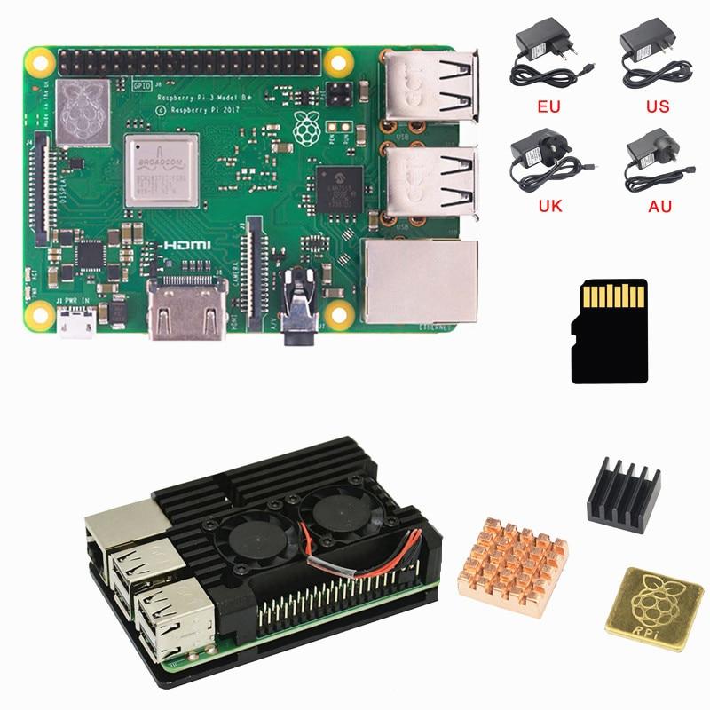 Nouveau Raspberry Pi 3 B + (B Plus) Kit Quad Core 1.4 GHz 64 bits CPU avec boîtier en aluminium adaptateur d'alimentation 16G carte mémoire dissipateur de chaleur