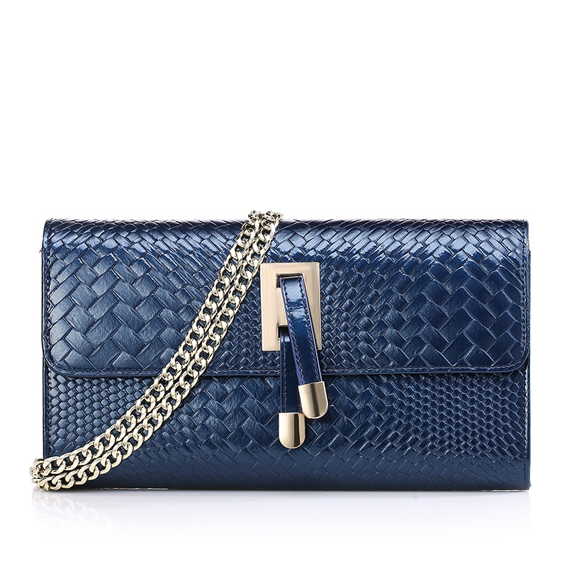 Fashion Women Split Leather Chain Shoulder Bag Ladies Knitting Grain Cover Party Evening Clutch Female Bolsas QZ5059 new fashion women party clutch bag pu leather hollow metal bow buckle evening bag female banquet handbag with shoulder chain