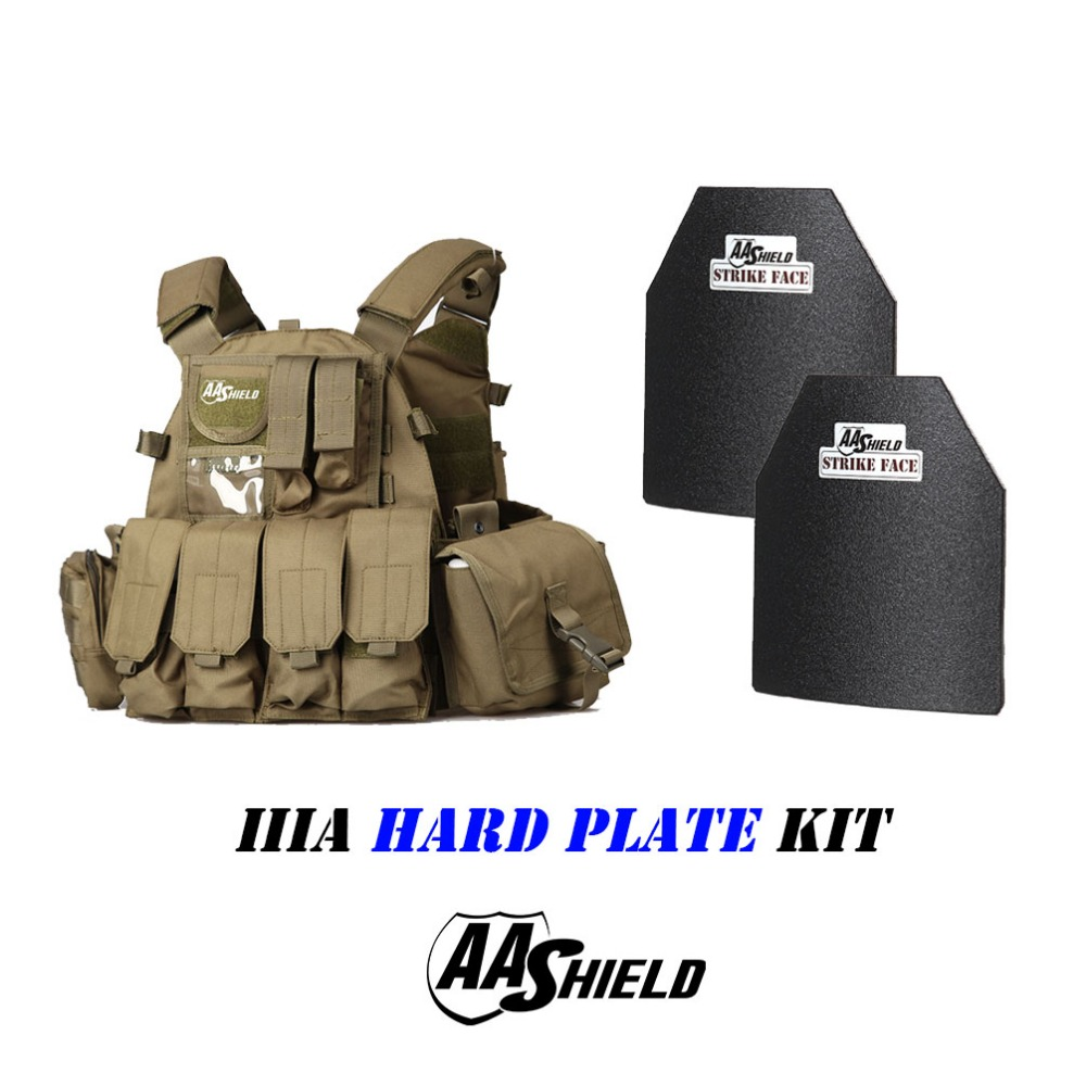 AA Shield Outdoor Molle 6094 Style Military Tactical Vest IIIA Hard Plate 3A Kit / OD
