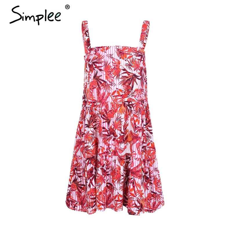 Simplee 스트랩 민소매 boho 여름 드레스 여성 꽃 무늬 스트 라이프 미니 드레스 캐주얼 비치 짧은 드레스 2018 봄 vestidos