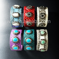 WT-B201 Großhandel 10 stücke leder charme armband, mischfarbe boho stil juwel-stein perlen armband dreibettzimmer asphaltierte strass perlen