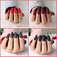 Матовые накладные ногти, популярный дизайн, клей на 24 шт., Длинные накладные ногти, чистый цвет, для наращивания ногтей, искусственные аксессуары для дизайна ногтей