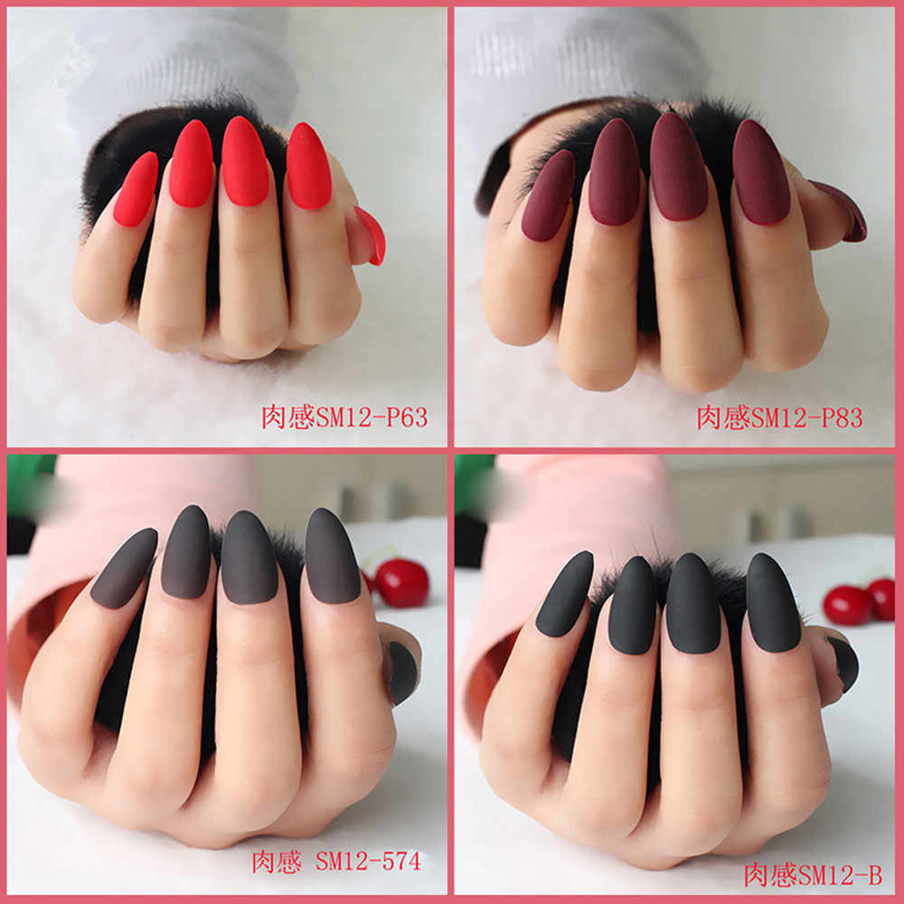 Matte False Nails Popular Designs Glue On 24pcs Long Tip Patch Pure Color Nail Chip Extensions Artificial Nail Art Accessories