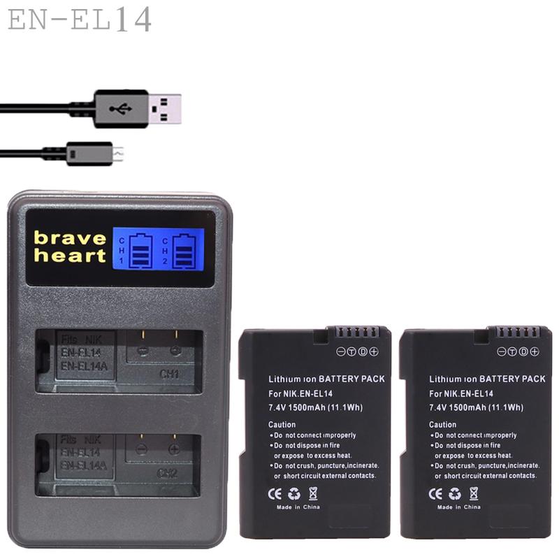 Prix pour EN-EL14 Caméra Batterie pack EN EL14 ENEL14 Batteria + chargeur pour nikon dslr d90 d3300 d3100 d5100 d5200 d3200 p7000 p7100 p7700