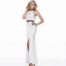 Vestidos de Festa Longo Glamorous Halter Seite Split Weibliche Kleid 2016 Vintage Weiß Pailletten Chiffon Abendkleider