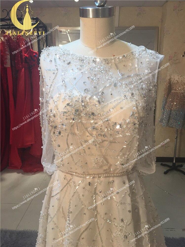 Rhin réel échantillon photos Elie Saab nu à l'intérieur avec des perles de cristal de luxe de mode haut travail robe de mariée robes de mariée - 3