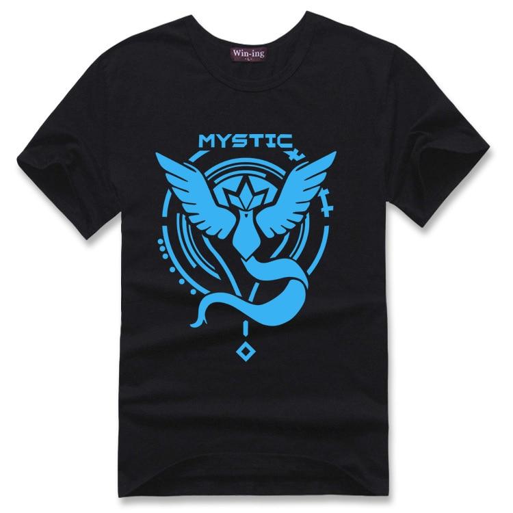 Team Mystic Pokemon Go Sun Tee Articuno Print T-shirt Cotton Unisex Shirts Teen Loose Homme Tops