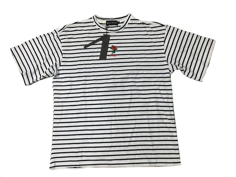 Dark Icon Rose Embroidery Striped Mens T-shirt Short Sleeve 19 Summer Hi-street Oversized Hip Hop Tshirt Cotton Tee Shirts 20