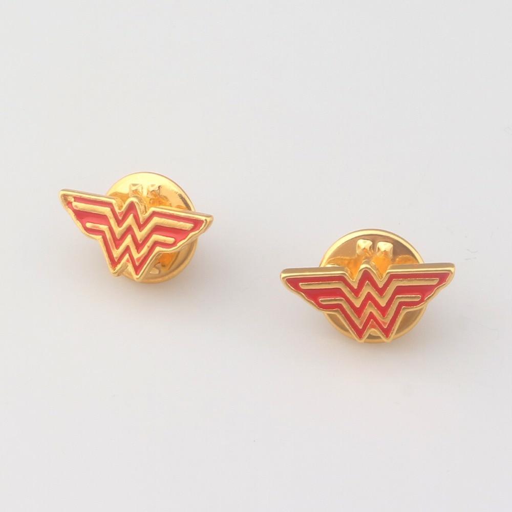 Film Jewelry Gold And Red Super Hero Wonder Women Brooch