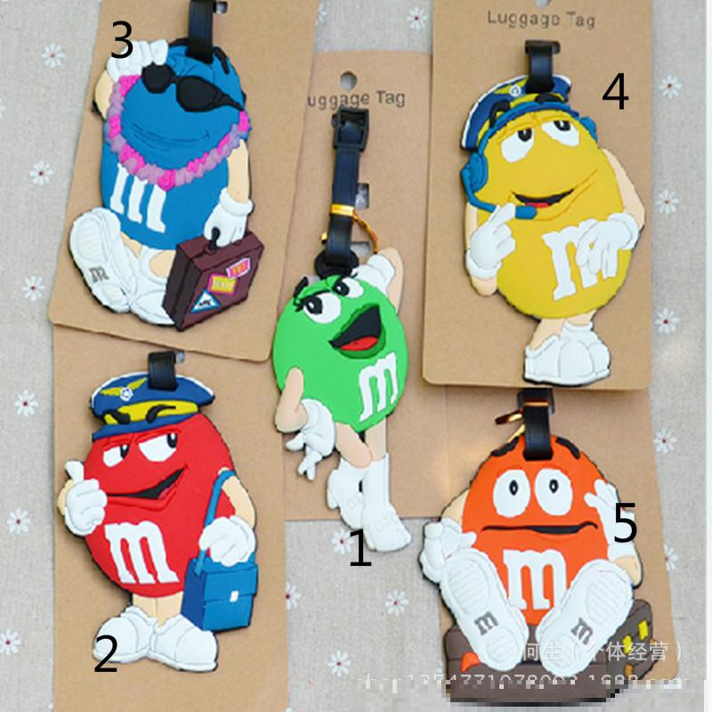 Creative M Bean and M bean chocolate Luggage Tag 5Pcs Kawaii gift Childrens favorite color gift toy