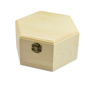 Image 5 - 3 pièces 3 tailles hexagone en bois montre boucles doreilles bijoux trésor boîte de rangement mémorial souvenir conteneur
