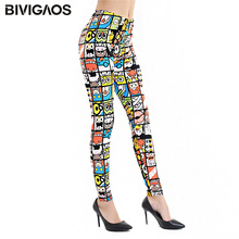Womens New Fashion Spring Summer BRUSHED Milk Silk Printed Leggings Elastic Pencil Pants Workout Leggins Thin Legging For Women