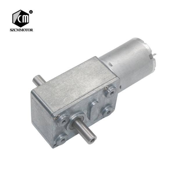 12-24V 6mm Dual Output Shafts low speed 6rpm Self-lock Large Torque DC Worm Gear Motor JGY370-D Double Axis Worm Geared Motors