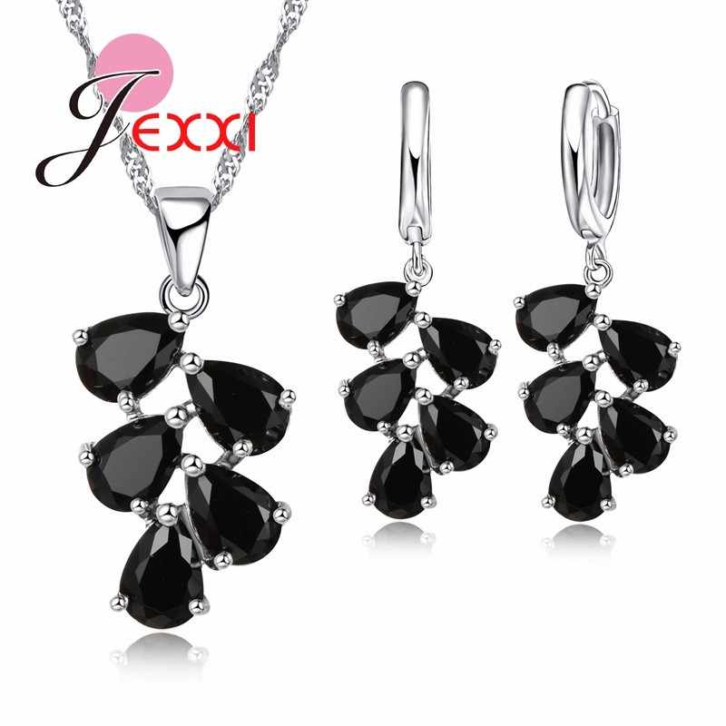 Wedding Engagement Jewelry Sets Women Hot Selling 925 Sterling Silver Water Drop CZ Crystal Pendant Necklace Earrings Sets