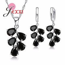 Wedding Engagement Jewelry Sets Women Hot Selling 925 Sterling Silver Water Drop CZ Crystal Pendant Necklace Earrings Sets(China)