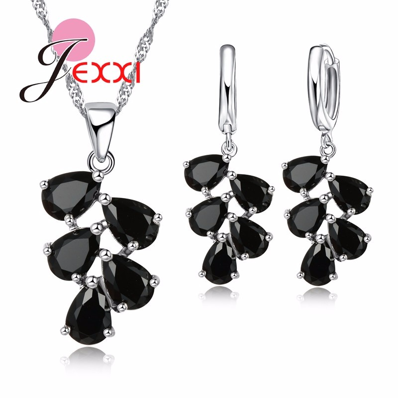 JEXXI Wedding Engagement Jewelry Sets Women Hot Selling 925 Sterling Silver Water Drop CZ Crystal Pendant Necklace Earrings Sets