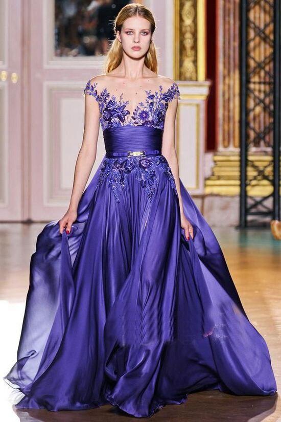 a8c6869ffc Zuhair_Murad 2017 New Evening Dresses O-Neck short sleeve Applique Beaded  30D Chiffon Fold Prom