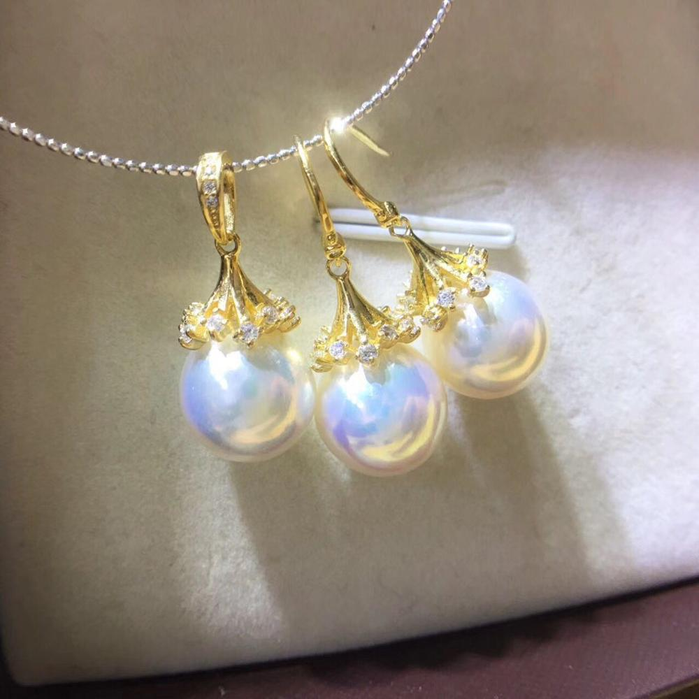 gorgeous 11-12mm south sea round white pearl pendant &earring18k