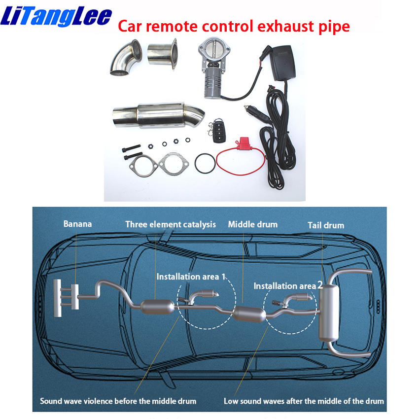 LiTangLee Car remote control exhaust pipe Stainless steel Electric Exhaust CutOut down pipe kit Cut Out Valve For Audi Q2 2018