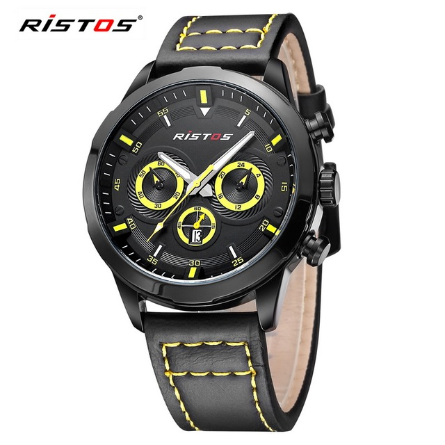 7545d4cd8a9 Marca de Luxo Original Relógios Homens Ristos Couro Militar Do Exército  Sports Relógio de Quartzo Relógio