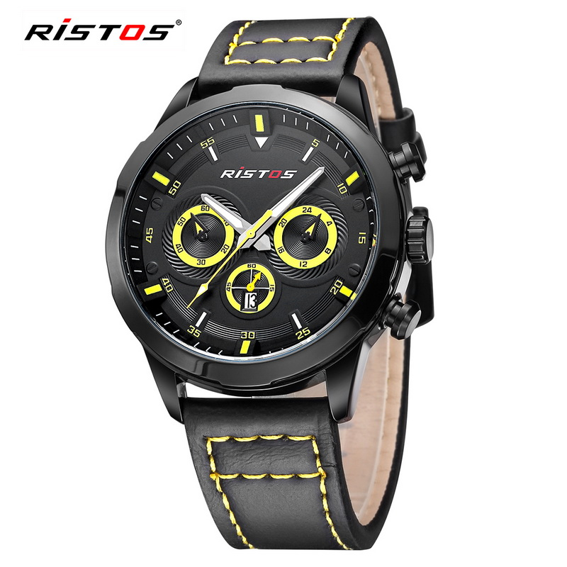 Original Brand Luxury Watches Men Ristos Leather Military Army Sports Quartz Watch Clock Waterproof Wristwatch Reloj Hombre 2016 luxury brand pagani design waterproof quartz watch army military leather watch clock sports men s watches relogios masculino