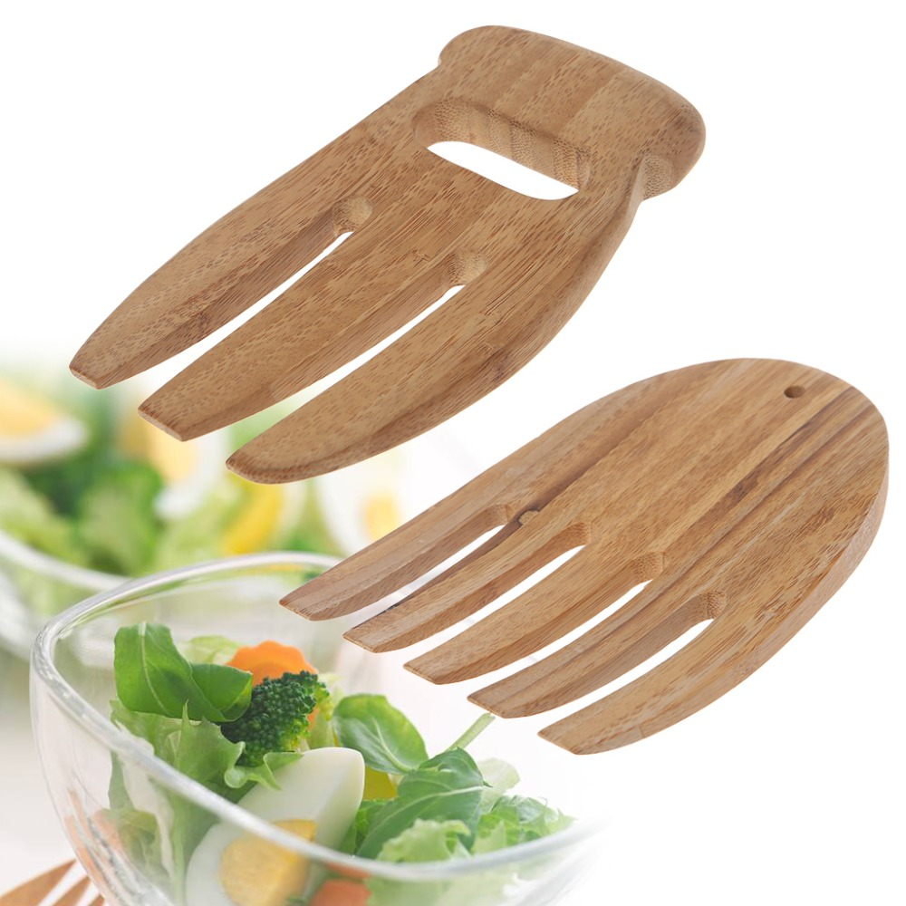 1Pc Eco-friendly 3 Teeth/5 Teeth Bamboo Wood Salad Hand Claw Tong Handle Utensils Reusable Kitchen Tools