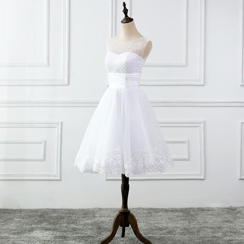 JIERUIZE vestidos de novia Mežģīņu aplikācijas Pērles īsās - Kāzu kleitas - Foto 3
