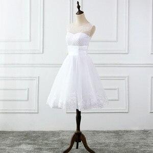 Image 3 - JIERUIZE vestidos דה novia תחרה אפליקציות פניני קצר חתונת שמלות תחרה עד בחזרה זול חתונת כותנות robe דה mariee