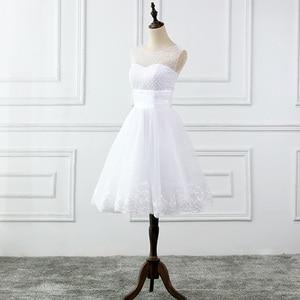 Image 3 - Jieruize vestidos de noiva, vestidos de noiva de renda com apliques de pérolas, curtos, lace up, baratos, de mariee
