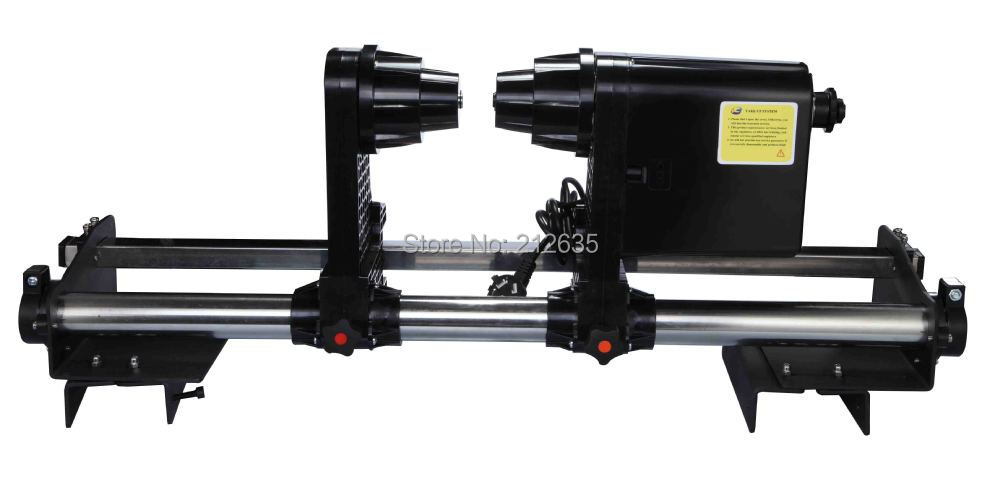 Take up system for Roland VS640 printer with single motor