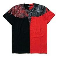 2017ss Marcelo Burlon Hommes T Shirt Noir Rouge Patchwork T-Shirt hommes Fantôme Ailes Impression Femmes Hommes T-shirt Italie 15 conceptions
