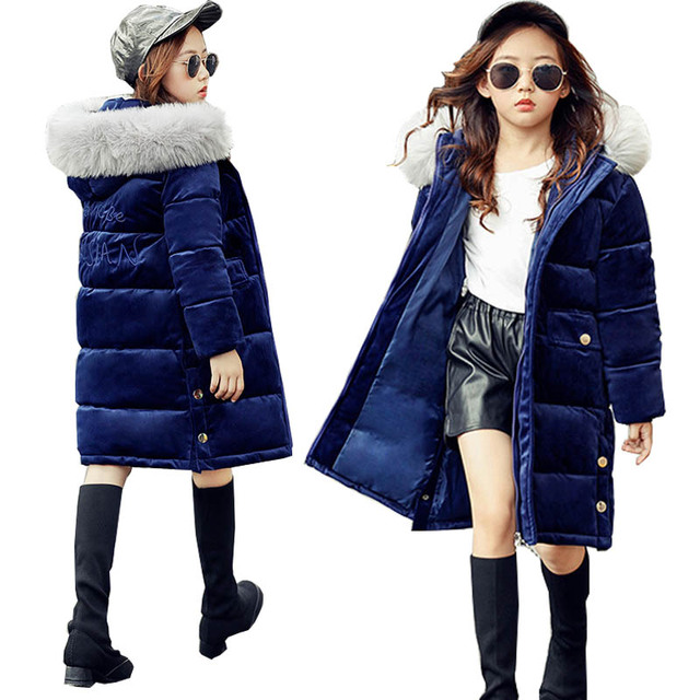 Cheap Kids Winter Coats Velour Jacket for Girls Parkas Thick Fur Hooded Teenage Girls Long Coat Outerwear Children Clothing 10 Years