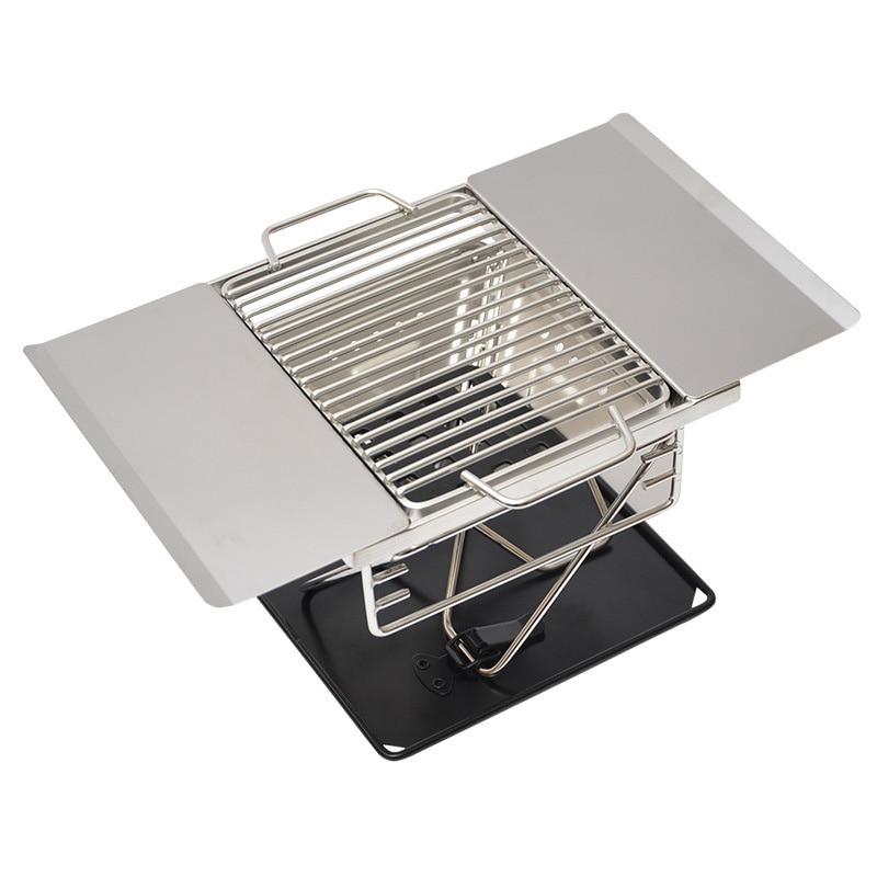 Grilles de Barbecue pliantes en acier inoxydable poêle à Barbecue Portable pour Camping cuisinière de voyage en plein air Barbecue à charbon outils de Barbecue