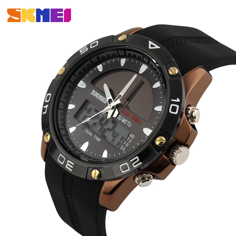 SKMEI Men Solar Dual Time Display Watches Chronograph 50M Waterproof Sports Watch Quartz Fashion Wristwatches Relogio