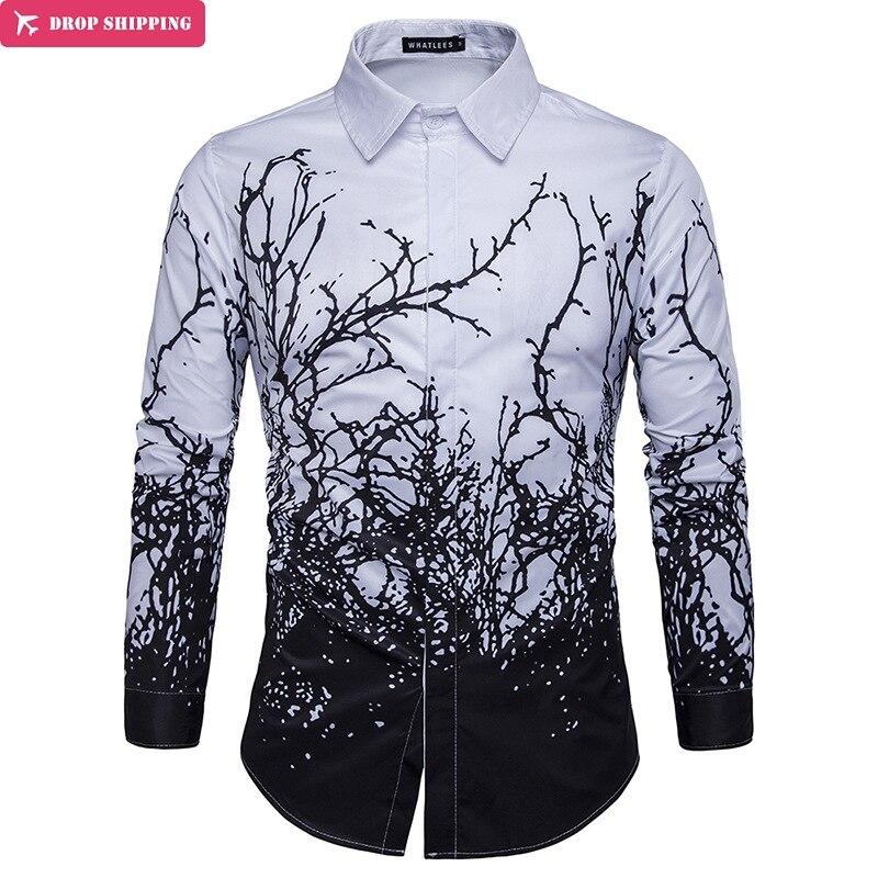 Dropshipping  New Men Luxury Shirt Long Sleeve Camisa Masculina High Quality Printing Branches Shirts Brand-Clothing