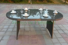 Outdoor garden dining table set furniture in wicker material designs