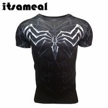 Itsameal Black SpiderMan T Shirt 3D Printed Men's T-shirts Avengers Horrible Spider Man Tops Tees Short Sleeve Clothing for Male