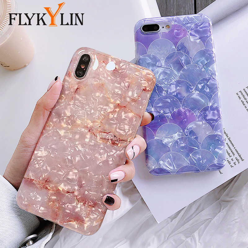 FLYKYLIN Conch Shell Case For iphone XS Max XR X 6 6S 7 8 Plus Cover Soft TPU Silicone Cases Marble Cat Flowers Love Heart Coque