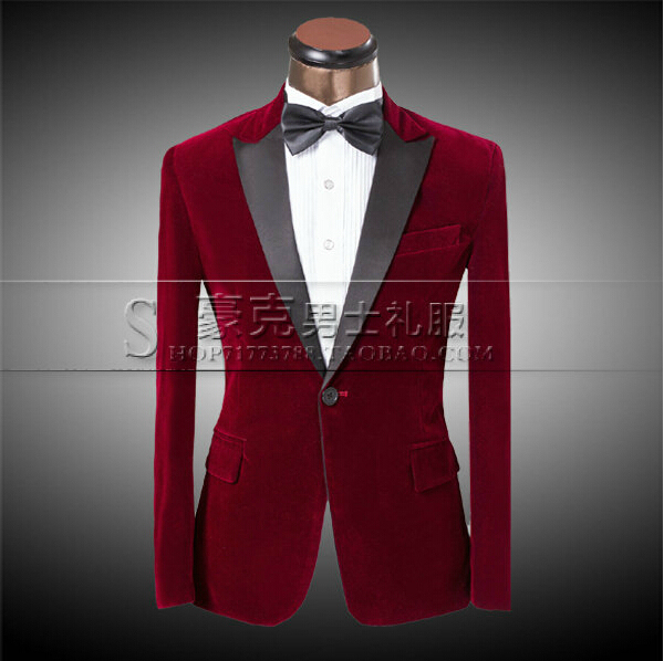 53fb770cd496 New men studio fitted tuxedo groom suit Purplish red velvet Suit Groom  wedding dress fitted stage costumes clothing (suit+pants)