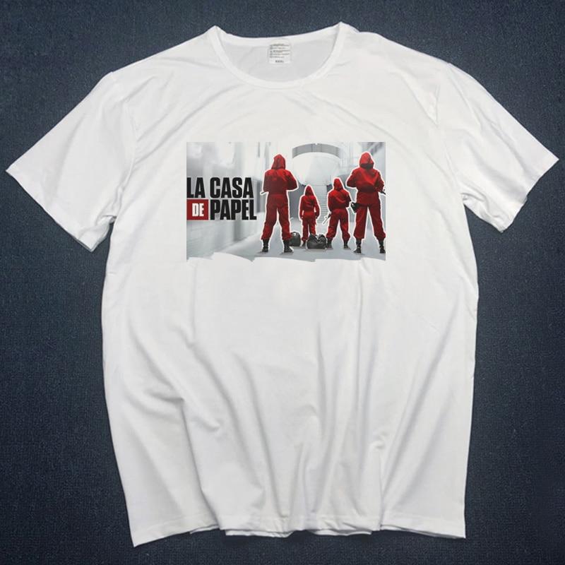 Money Heist The House Of Paper Print Tshirts Animal La Casa De Papel Men Tshirts Print T Shirt Men Funny Dali Tshirts Streetwear