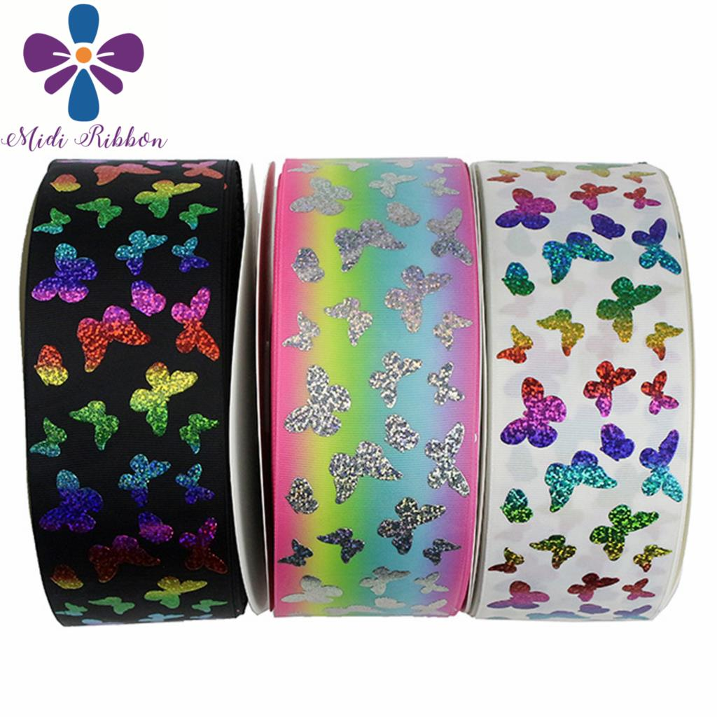 """3""""75mm Rainbow&Silver Hologram Foil Butterfly Gradient Stripe Printed Grosgrain Ribbon Solid Color DIY Hair Bowknot 50yards/roll-in Ribbons from Home & Garden    1"""