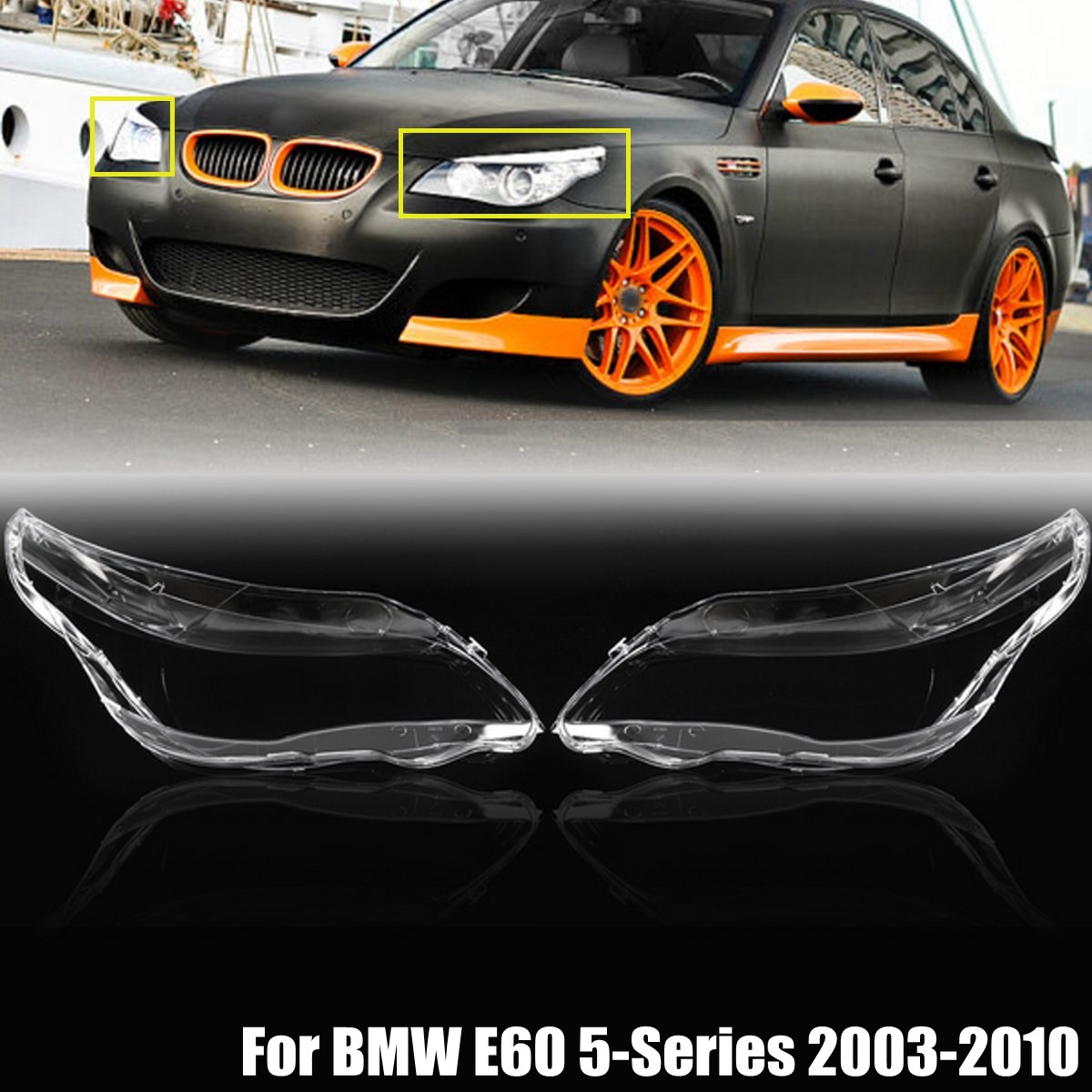 2Pcs Car Headlight Cover Headlamp Lens Covers For BMW 5-Series M5 E60 E61 525i 530i 545i 550i 2003 2004 2005 2006-2010 for bmw 5 series e60 e61 lci 525i 528i 530i 545i 550i m5 2007 2010 xenon headlight dtm style ultra bright led angel eyes kit page 9